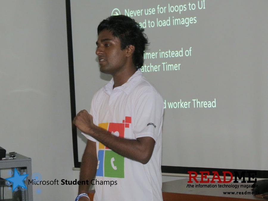 Udara Aliws presenting at Microsoft Student Champs meeting in Sri Lanka